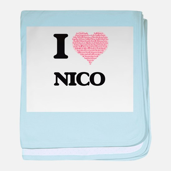 I Love Nico (Heart Made from Love wor baby blanket
