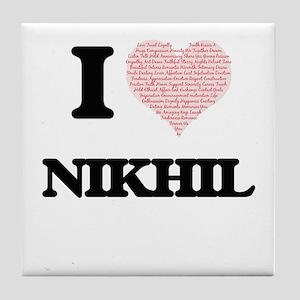I Love Nikhil (Heart Made from Love w Tile Coaster