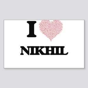 I Love Nikhil (Heart Made from Love words) Sticker