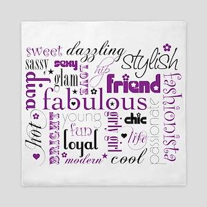 Purple And Black Friend Word Queen Duvet