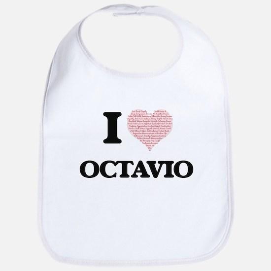 I Love Octavio (Heart Made from Love words) Bib