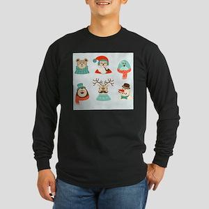 christmas hipster santa Long Sleeve T-Shirt