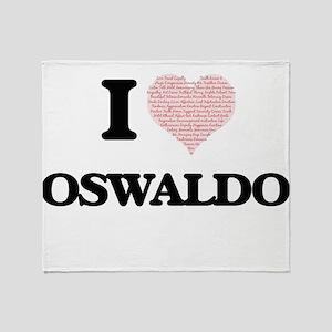I Love Oswaldo (Heart Made from Love Throw Blanket
