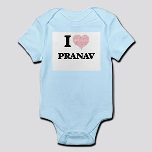 I Love Pranav (Heart Made from Love word Body Suit