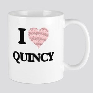 I Love Quincy (Heart Made from Love words) Mugs