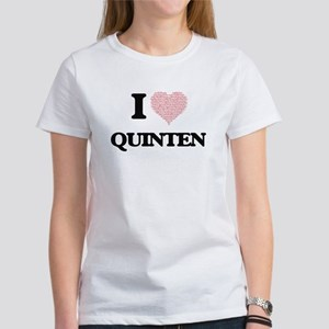I Love Quinten (Heart Made from Love words T-Shirt