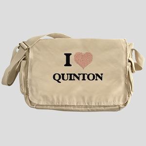 I Love Quinton (Heart Made from Love Messenger Bag