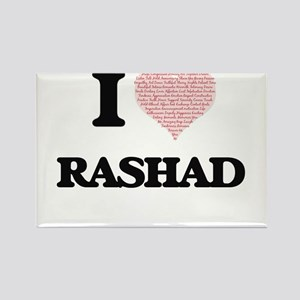 I Love Rashad (Heart Made from Love words) Magnets