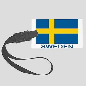 sweden-flag-lebeled Large Luggage Tag