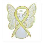 Yellow Awareness Ribbon Angel Square Car Magnet 3