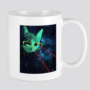 Laser Eyes Space Cat Mugs