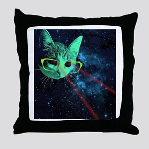 Laser Eyes Space Cat Throw Pillow