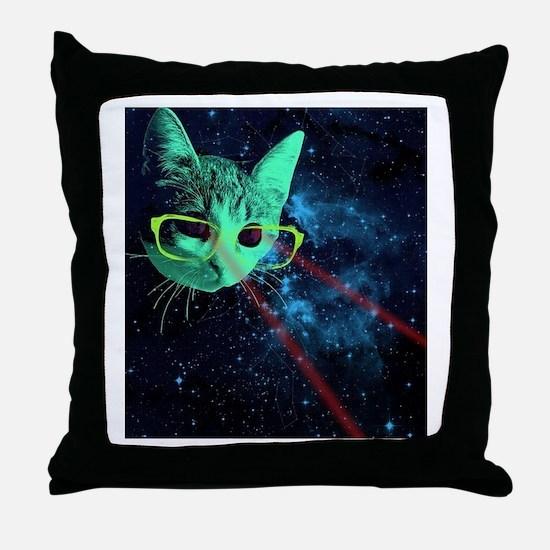 Laser Eyes Space Cat Throw Pillow