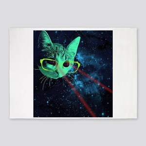 Laser Eyes Space Cat 5'x7'Area Rug