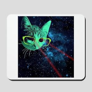 Laser Eyes Space Cat Mousepad