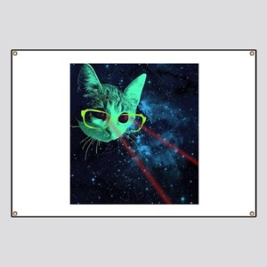 Laser Eyes Space Cat Banner