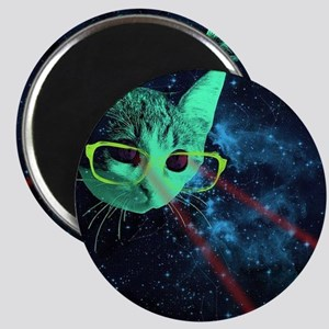 Laser Eyes Space Cat Magnets
