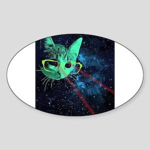 Laser Eyes Space Cat Sticker