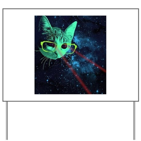 Laser Eyes Space Cat Yard Sign