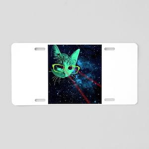 Laser Eyes Space Cat Aluminum License Plate