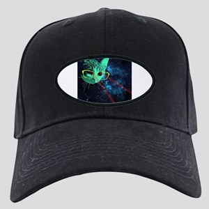 Laser Eyes Space Cat Black Cap