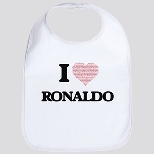 I Love Ronaldo (Heart Made from Love words) Bib