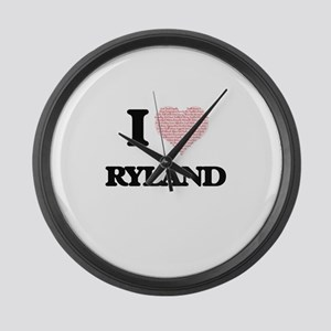 I Love Ryland (Heart Made from Lo Large Wall Clock
