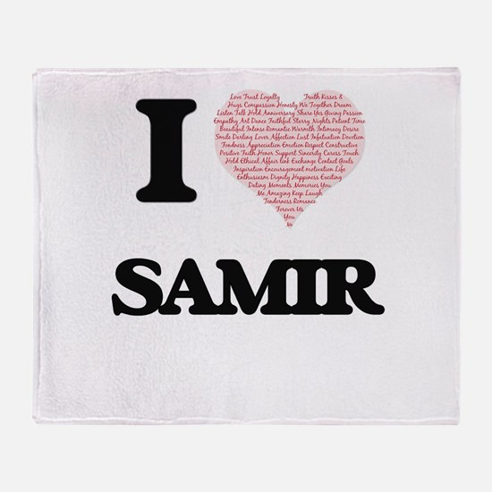 I Love Samir (Heart Made from Love w Throw Blanket
