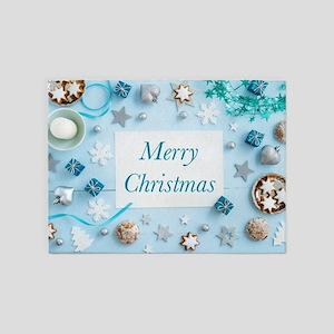 Blue Christmas decoration on wood 5'x7'Area Rug