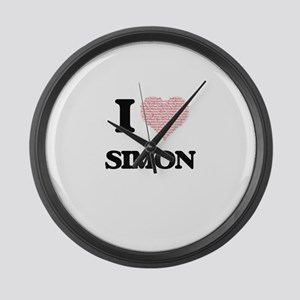 I Love Simon (Heart Made from Lov Large Wall Clock