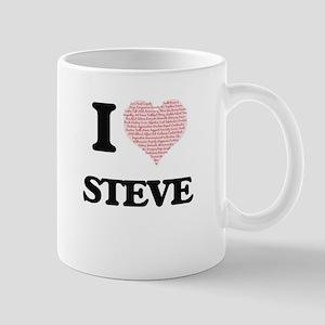I Love Steve (Heart Made from Love words) Mugs