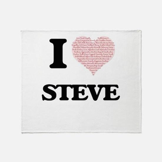 I Love Steve (Heart Made from Love w Throw Blanket