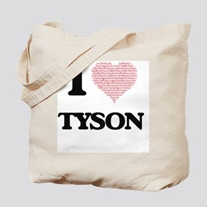 I Love Tyson (Heart Made from Love words) Tote Bag