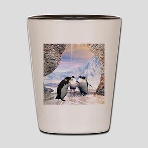 Funny penguin Shot Glass