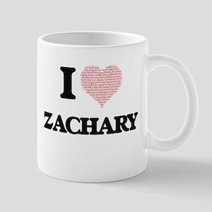 I Love Zachary (Heart Made from Love words) Mugs