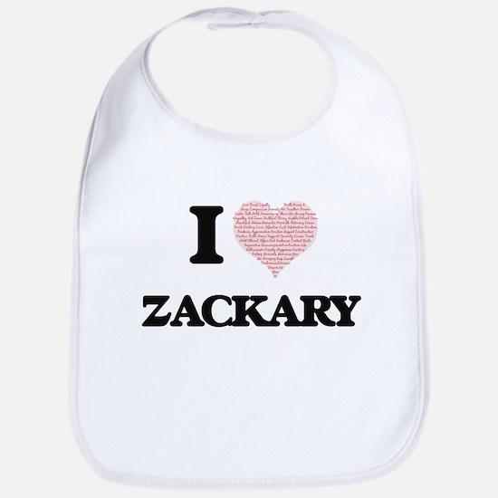 I Love Zackary (Heart Made from Love words) Bib