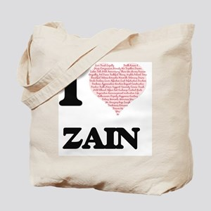 I Love Zain (Heart Made from Love words) Tote Bag