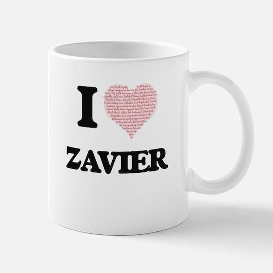 I Love Zavier (Heart Made from Love words) Mugs