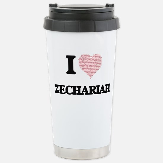 I Love Zechariah (Heart Stainless Steel Travel Mug