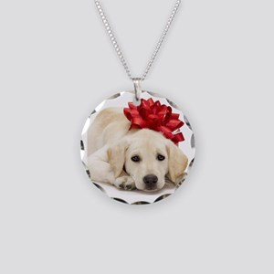 Yellow Lab Puppy Necklace Circle Charm