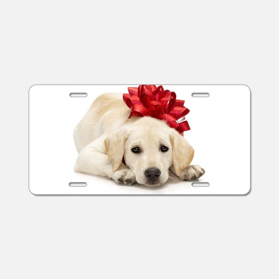 Yellow Lab Puppy Aluminum License Plate