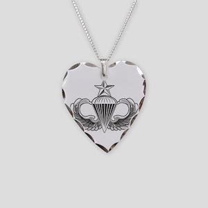 Airborne Senior Parachutist W Necklace Heart Charm