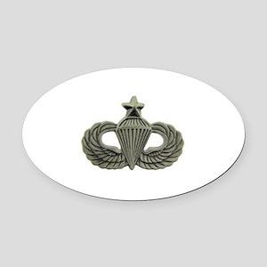 Airborne Senior Parachutist Wings Oval Car Magnet
