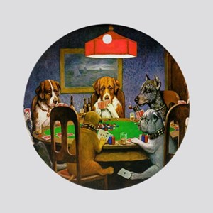Dogs Playing Poker Round Ornament
