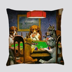 Dogs Playing Poker Everyday Pillow