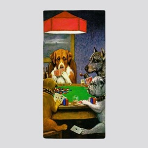 Dogs Playing Poker Beach Towel