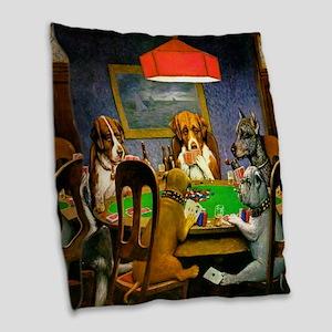Dogs Playing Poker Burlap Throw Pillow