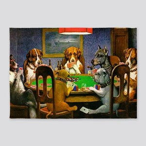 Dogs Playing Poker 5'x7'Area Rug
