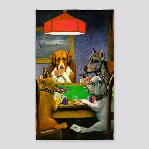 Dogs Playing Poker Area Rug