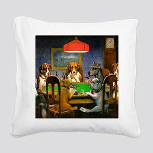 Dogs Playing Poker Square Canvas Pillow